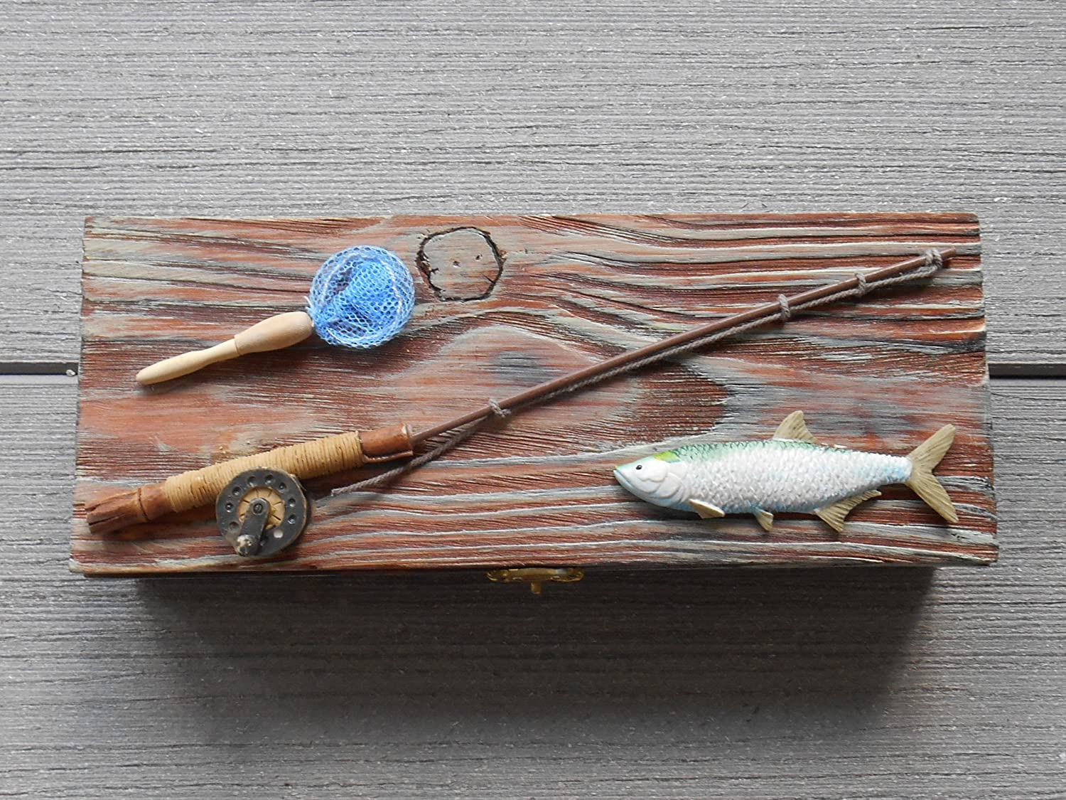 Nautical Fishing Box for Coins, Keys or Watch, Man Cave Father's Day Gift – Decorative Boxes