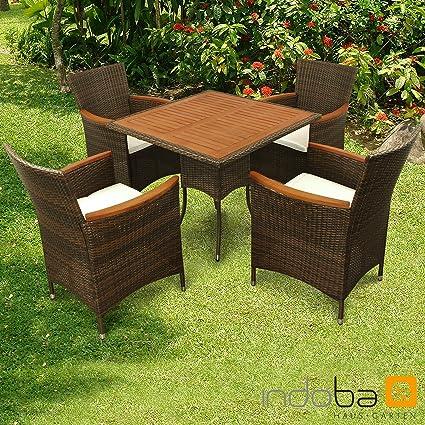 "Indoba Gartenmöbel Set 5-teilig ""Valencia"" - Polyrattan, Serie - IND-70117-VASE5, braun, 85 x 85 x 74 cm"