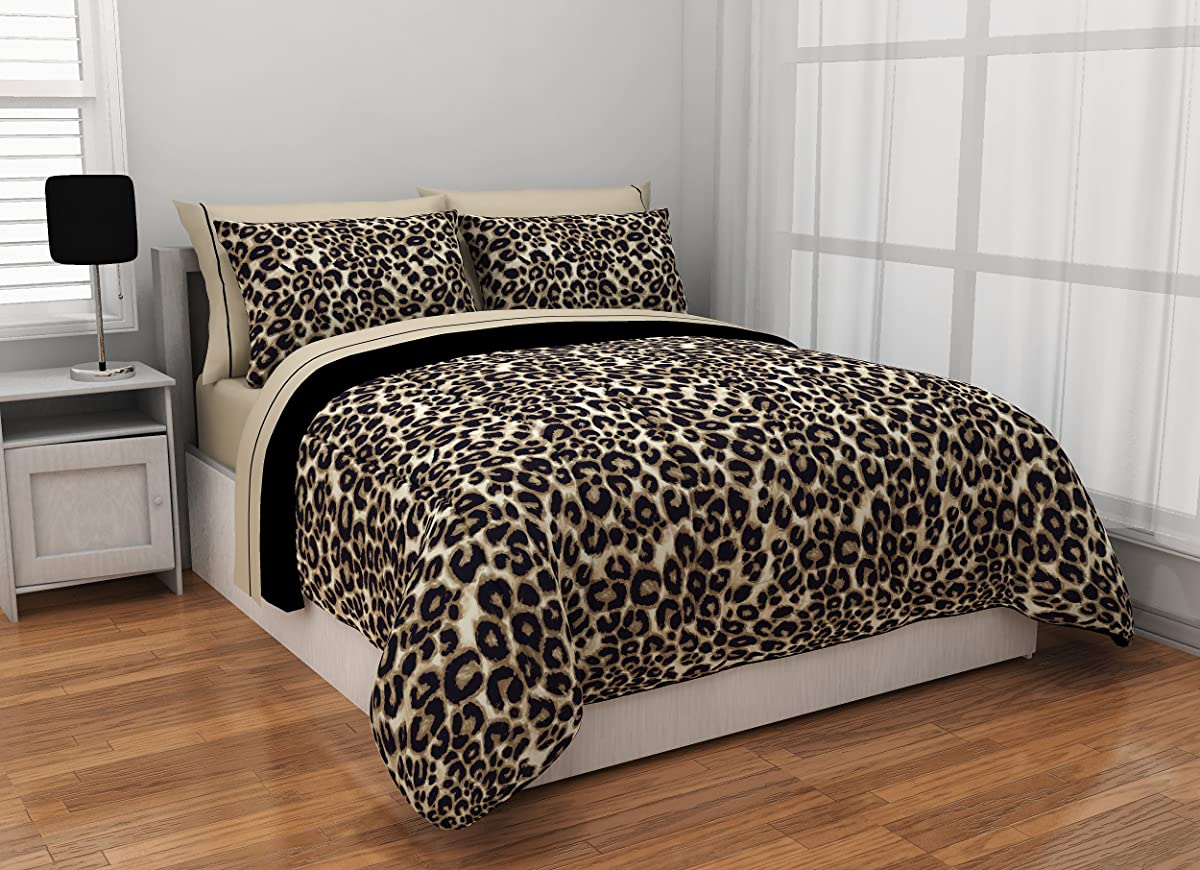 Rock Your Room WK643984 Animal Print Reversible Bed in a Bag Comforter Set, Twin X-Large, Cheetah