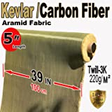 Kevlar Fabric - (YEL-Blk 5 ft x 1 Meter) 2x2 Twill WEAVE-3K/200g (Color: Yellow Black)