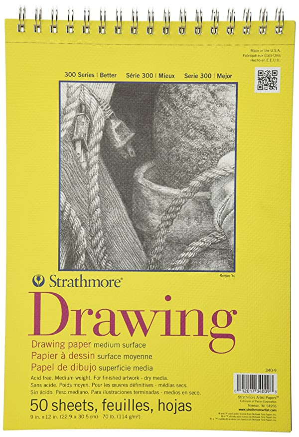 Strathmore 300 Series Drawing Pad, Medium Surface, 9x12 Wire Bound, 50 Sheets (Color: White, Tamaño: 9x12)