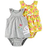 Carter's Baby Girls' 2-Pack One Piece Romper, Grey Kitty/Yellow Floral, 3 Months (Color: Grey Kitty/Yellow Floral, Tamaño: 3 Months)