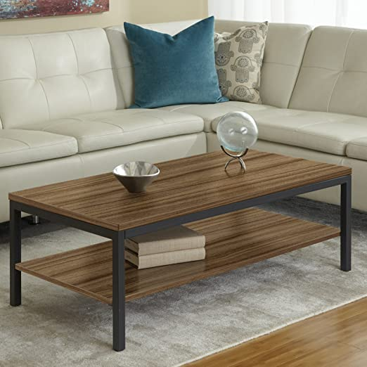 Parsons Edition Coffee Table with Shelf in Walnut