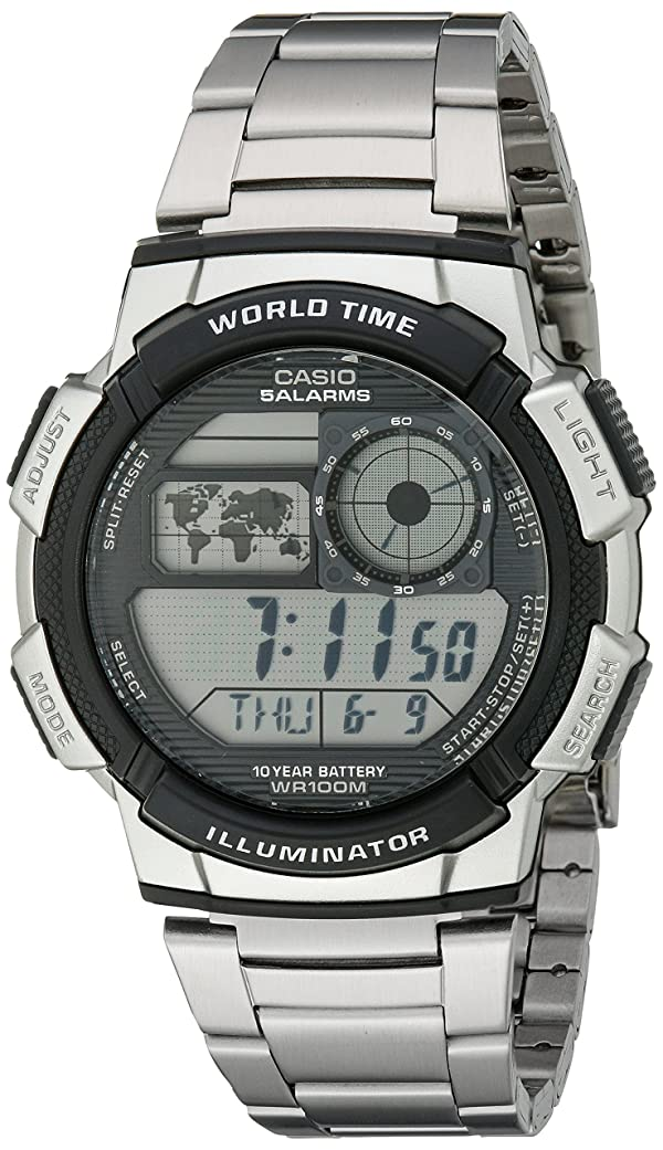 Casio Men's AE1000WD-1AVCF Silver-Tone Digital Watch (Color: Digital, Tamaño: NO SIZE)