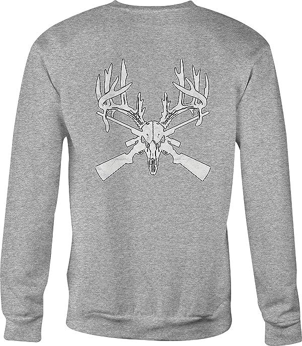 Deer Skull Big Rack Crossed Hunting Rifles  Color T-Shirt