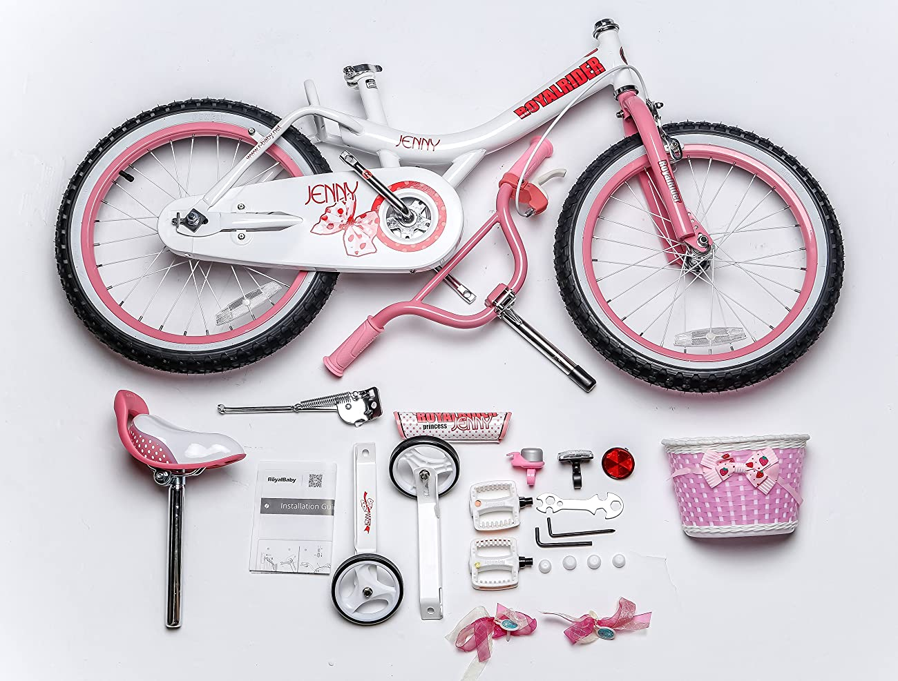 Royalbaby Jenny Princess Pink Girl's Bike with Training Wheels and Basket, Perfect Gift for Kids, 18 inch wheels 2