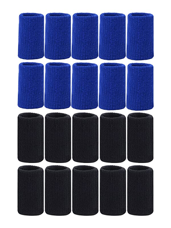 Mudder 20 Pieces Finger Sleeves Thumb Braces Support Elastic Compression Protector Braces for Relieving Pain Calluses Arthritis Knuckl (Black, Blue) (Color: Black, Blue)