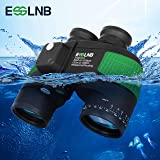 ESSLNB Marine Binoculars with Night Vision Compass Rangefinder 7X50 IPX7 100% Waterproof Military Binoculars for Adults Kids BAK4 FMC Floating Binoculars for Boating Hunting w/Bag and Floating Strap (Color: Marine Binoculars)
