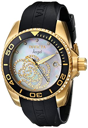 Women's 0489 Angel Collection Cubic Zirconia-Accented Watch With Black PU Band