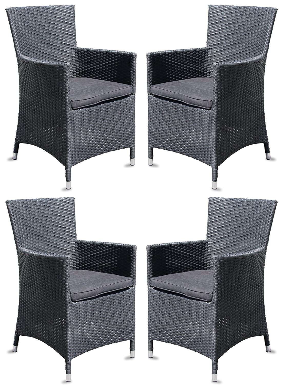 4x Hochwertiger Polyrattan Gartenstuhl Sessel Rattan Stuhl Gartenstühle Gartenmöbel Schwarz jetzt kaufen