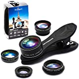 Phone Camera Lens Kit for iPhone Xs/R/X/8/7/6s Pixel, Samsung. 2xTele Lens Zoom Lens+198°Fisheye Lens+0.63XWide Angle Lens &15XMacro Lens+CPL Smartphone,Android,iPhone Lens. Phone Gadget.Photography. (Color: Black)