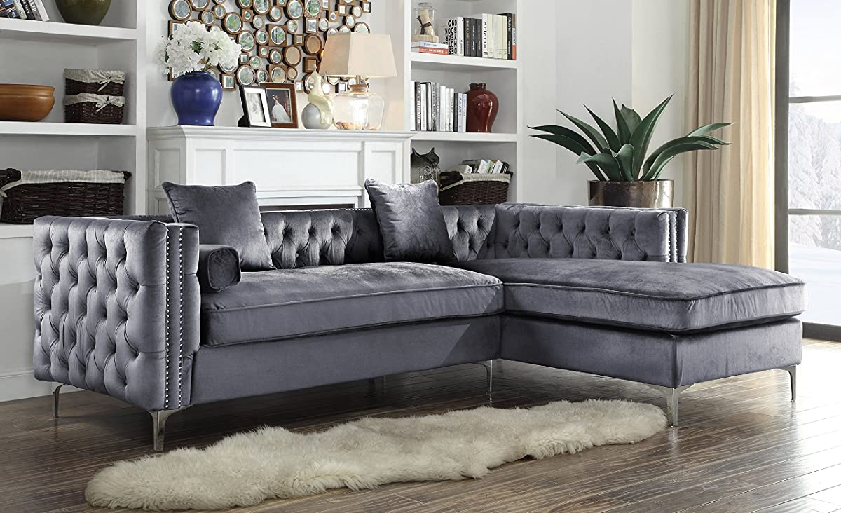 Iconic Home Da Vinci Tufted Silver Trim Grey Velvet Right Facing Sectional Sofa with Silver Tone Metal Y-Legs