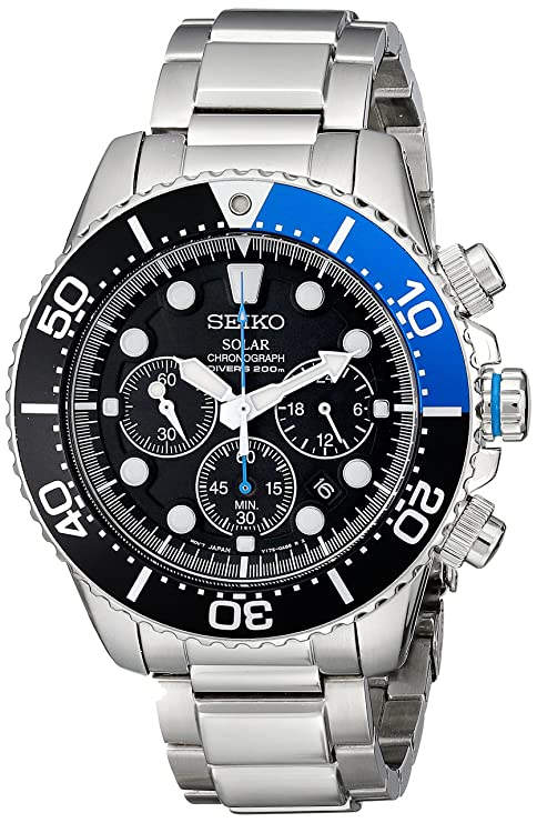 Best watch brands Seiko Men's SSC017 Solar Dive Stainless Steel Dive Watch