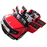 Two-Seater 4-Door Premium Ride On Electric Toy Car For Kids - 12V10A Battery Powered - LED Lights - MP3 - RC Parental Remote Controller - Leather Seat - Suitable For Boys & Girls - Red