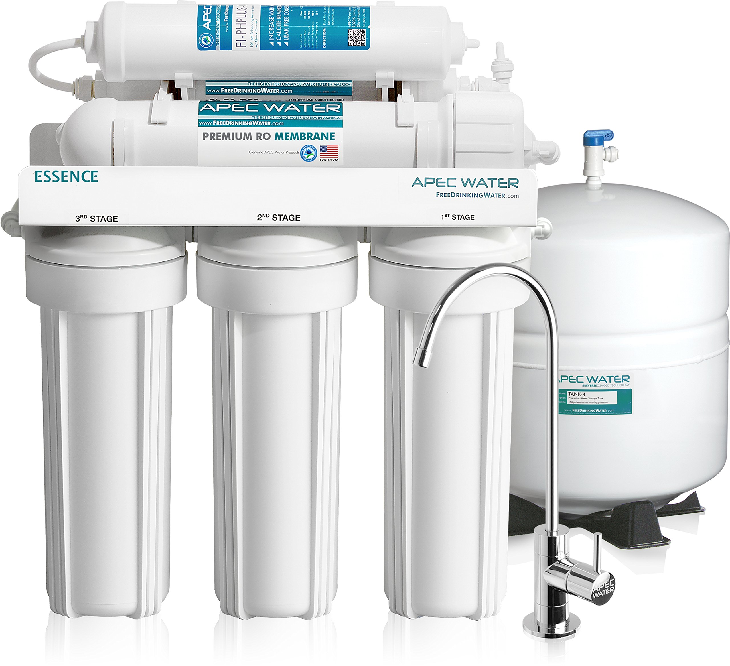 APEC Water Systems ROES-PH75 Top Tier, Built in USA ,Ultra Safe, pH Alkaline Calcium Mineral Reverse Osmosis Drinking Water System