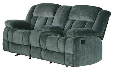 Homelegance 9636CC-2 Laurelton Textured Plush Microfiber Dual Glider Recliner Love Seat with Console, Gray