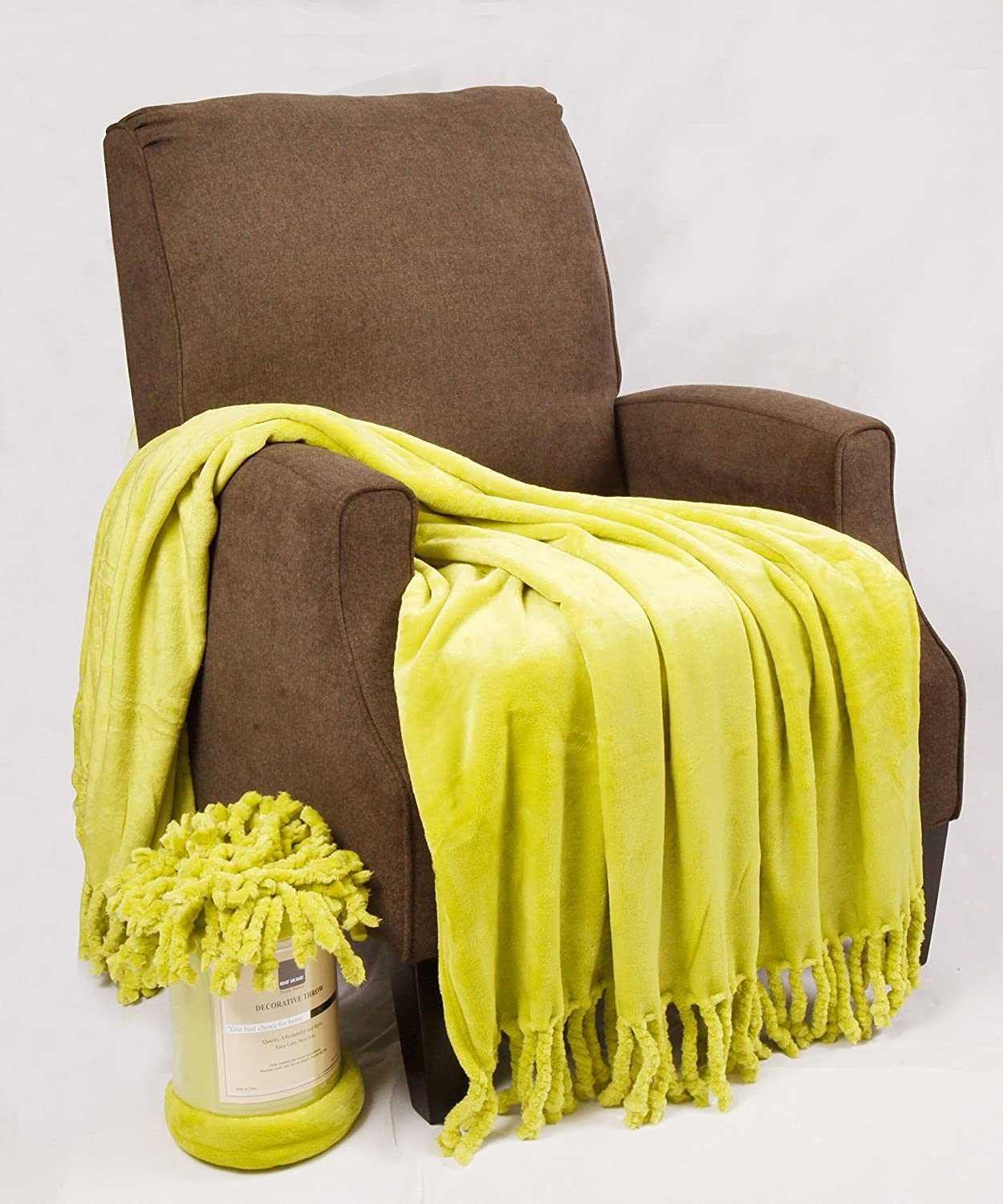 lime green throw blanket