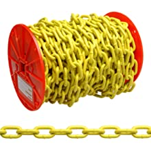 "Campbell PD0725027 System 3 Grade 30 Low Carbon Steel Proof Coil Chain on Reel, Yellow Polycoated, 3/16"" Trade, 0.21"" Diameter, 100' Length, 800 lbs Load Capacity"
