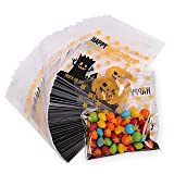 Halloween 100 Pack Jack O Lantern Trick or Treat Bags from HALOFUN, Plastic Candy Bags for Candy Cookie Cake Snacks and Party Favors (Transparent) (Color: Transparent)