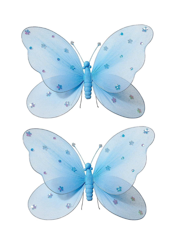 2-teilig Schmetterling für Mädchen-Kinderzimmer Dekoration zum Aufhängen, Schmetterling-Wanddeko für Geburtstag, Babyparty oder Hochzeit, Größe LARGE BLAU kaufen