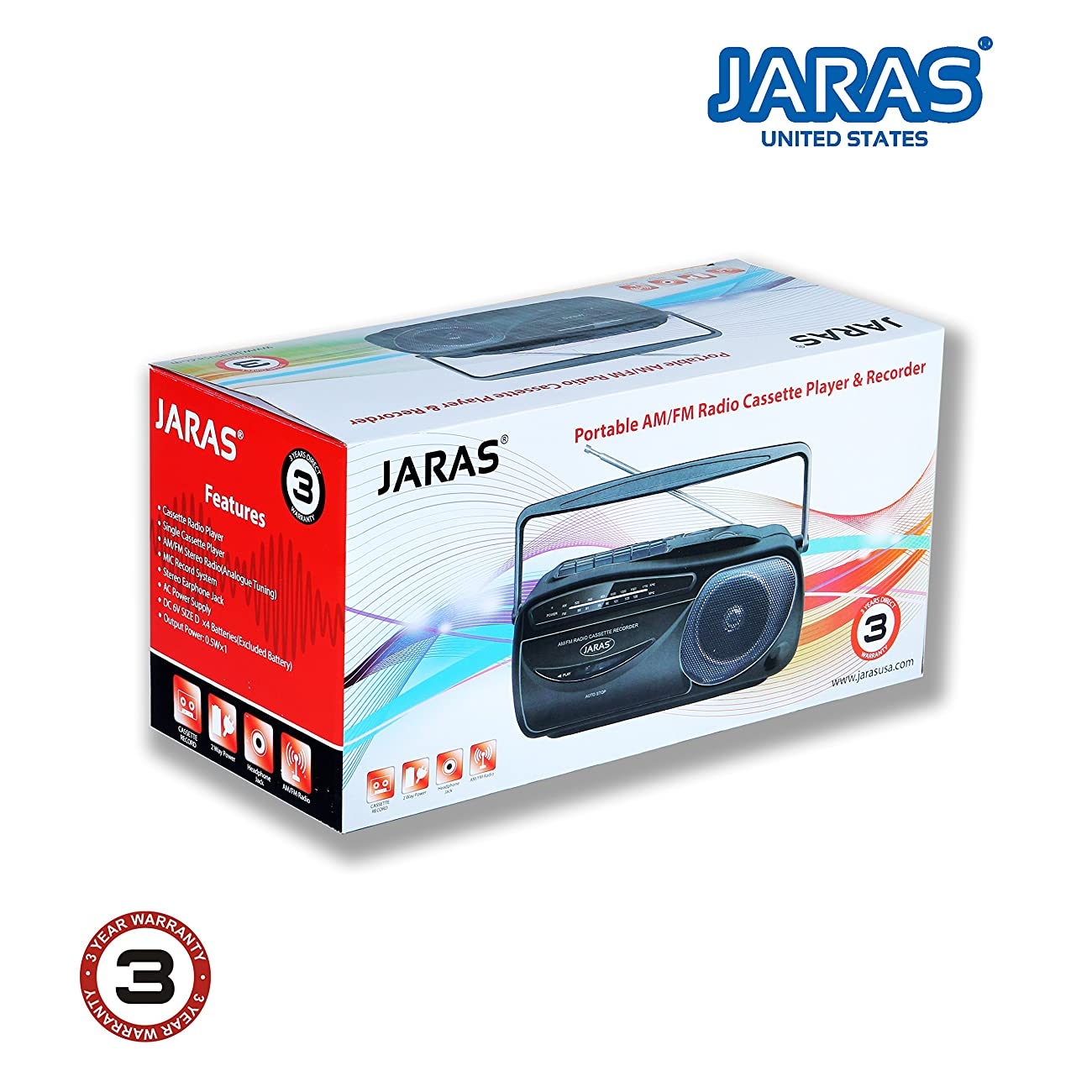 Jaras JJ-2618 Limited Edition Portable Boombox Tape Cassette Player/recorder with AM/FM Radio Stereo Speakers & Headphone Jack 5