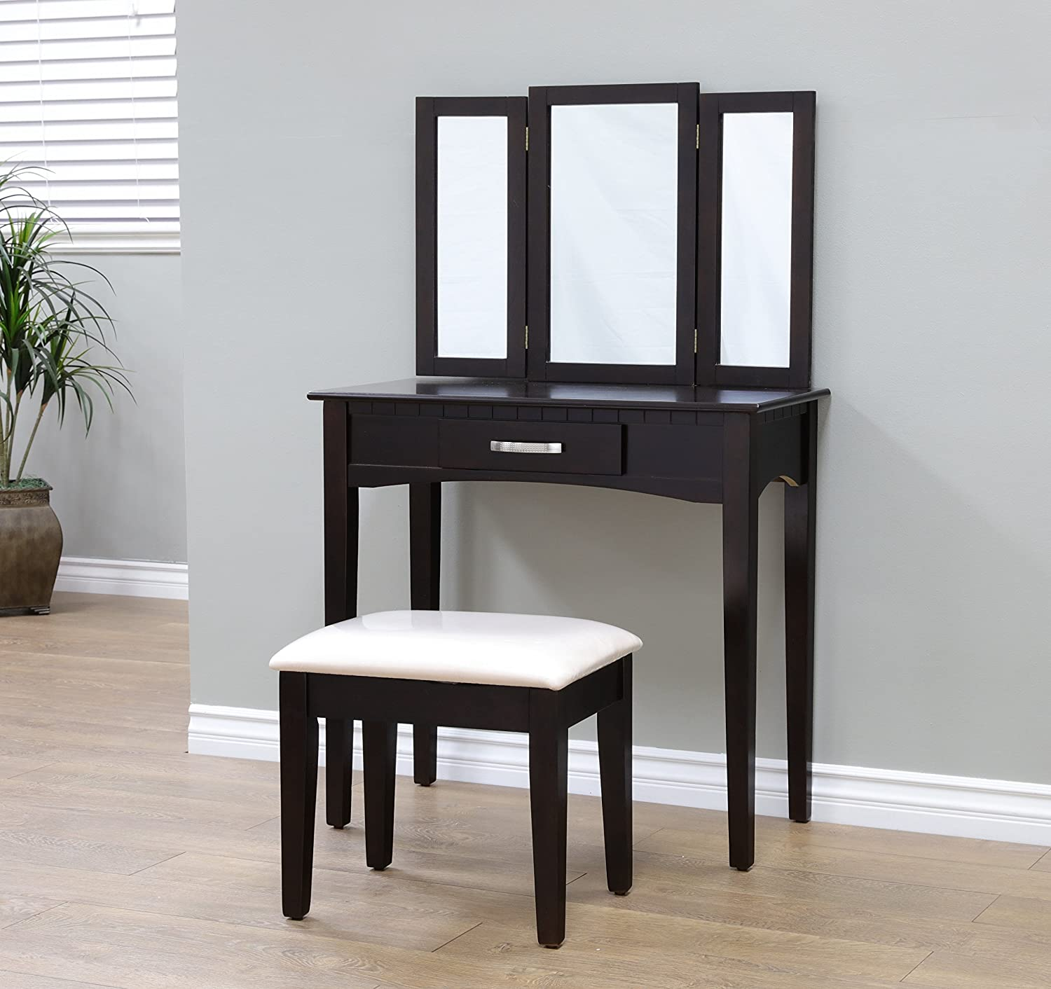 Vanity tables under 100 vanity table with mirror frenchi home furnishing 2 piece home furnishing stool set vanity espresso geotapseo Images