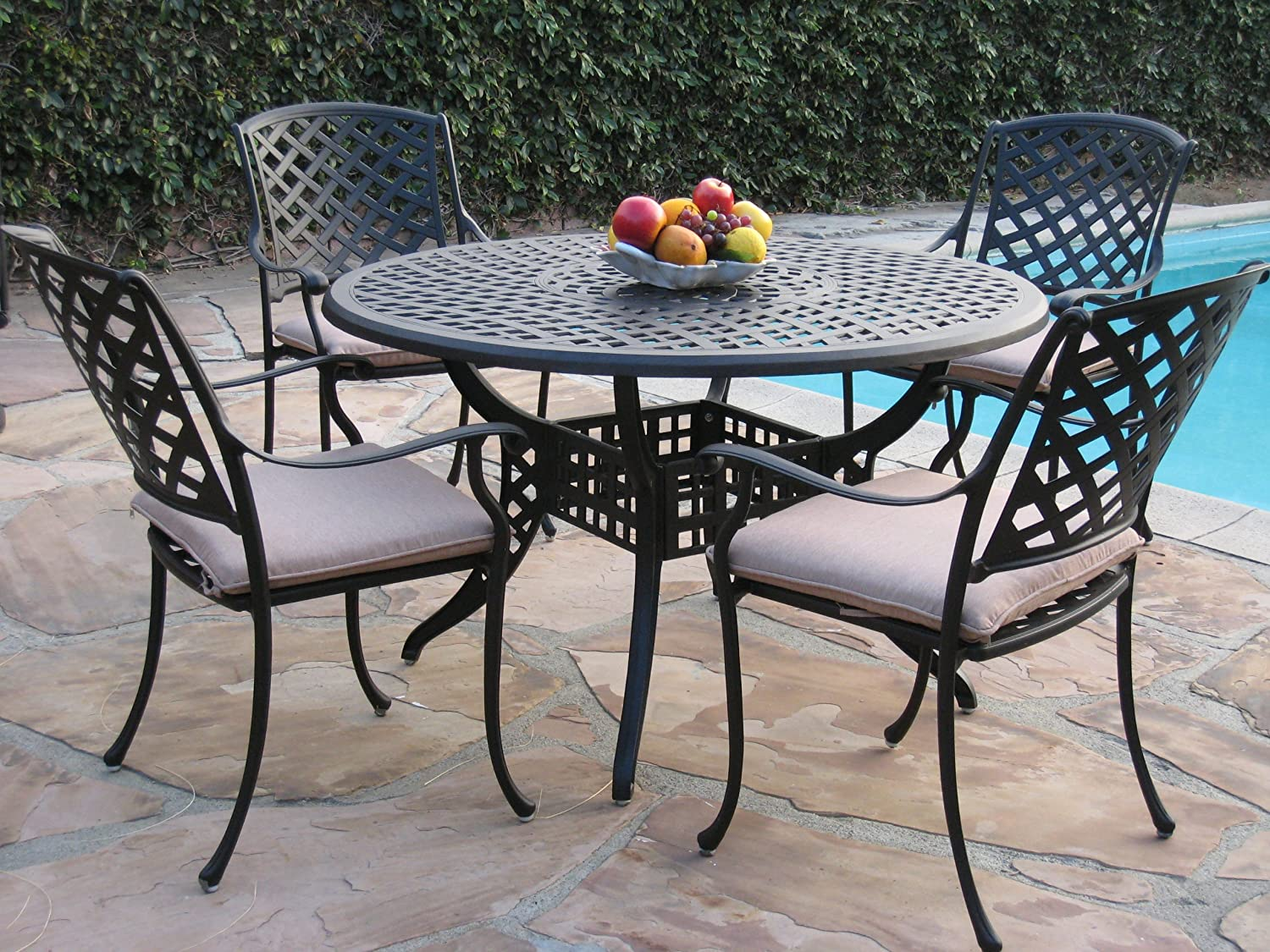 "Kawaii Cast Aluminum Outdoor Patio Furniture 5 Piece 48"" Dining Set MLV120T CBM"