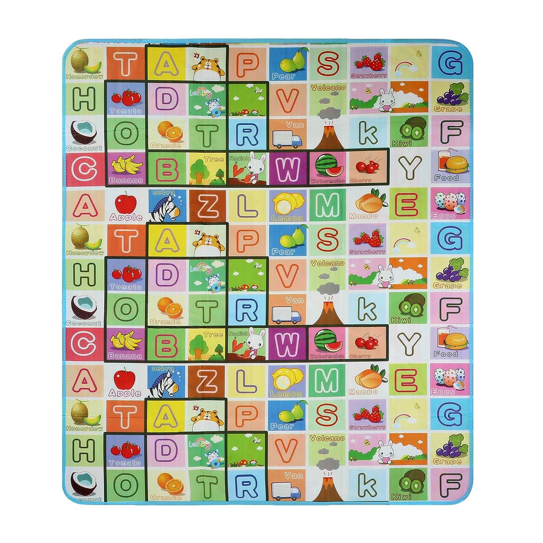 Arshiner Baby Spielteppich Spielmatte Puzzlematte Kinderteppich für Innen / Außen Alphabet und Land zwei Seite günstig