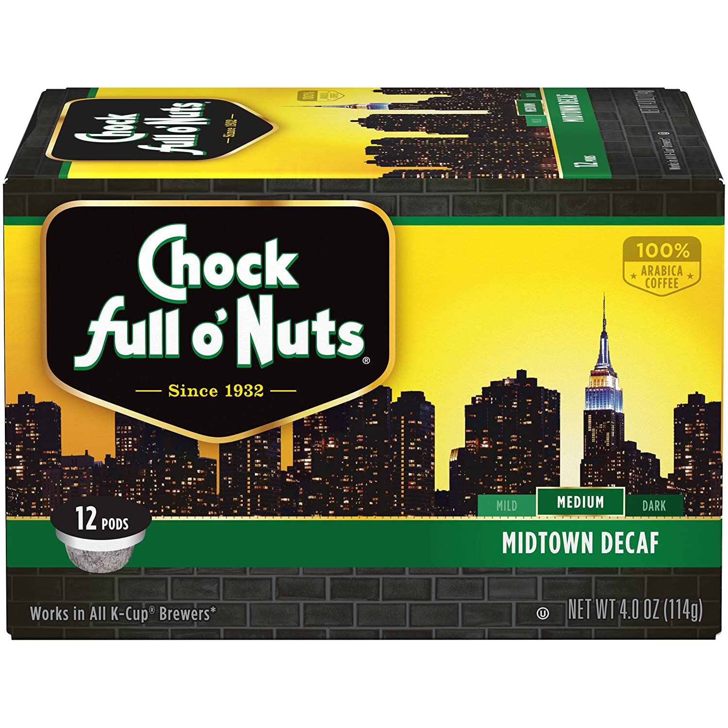 Chock Full o'Nuts Coffee, Midtown Decaf Medium Roast
