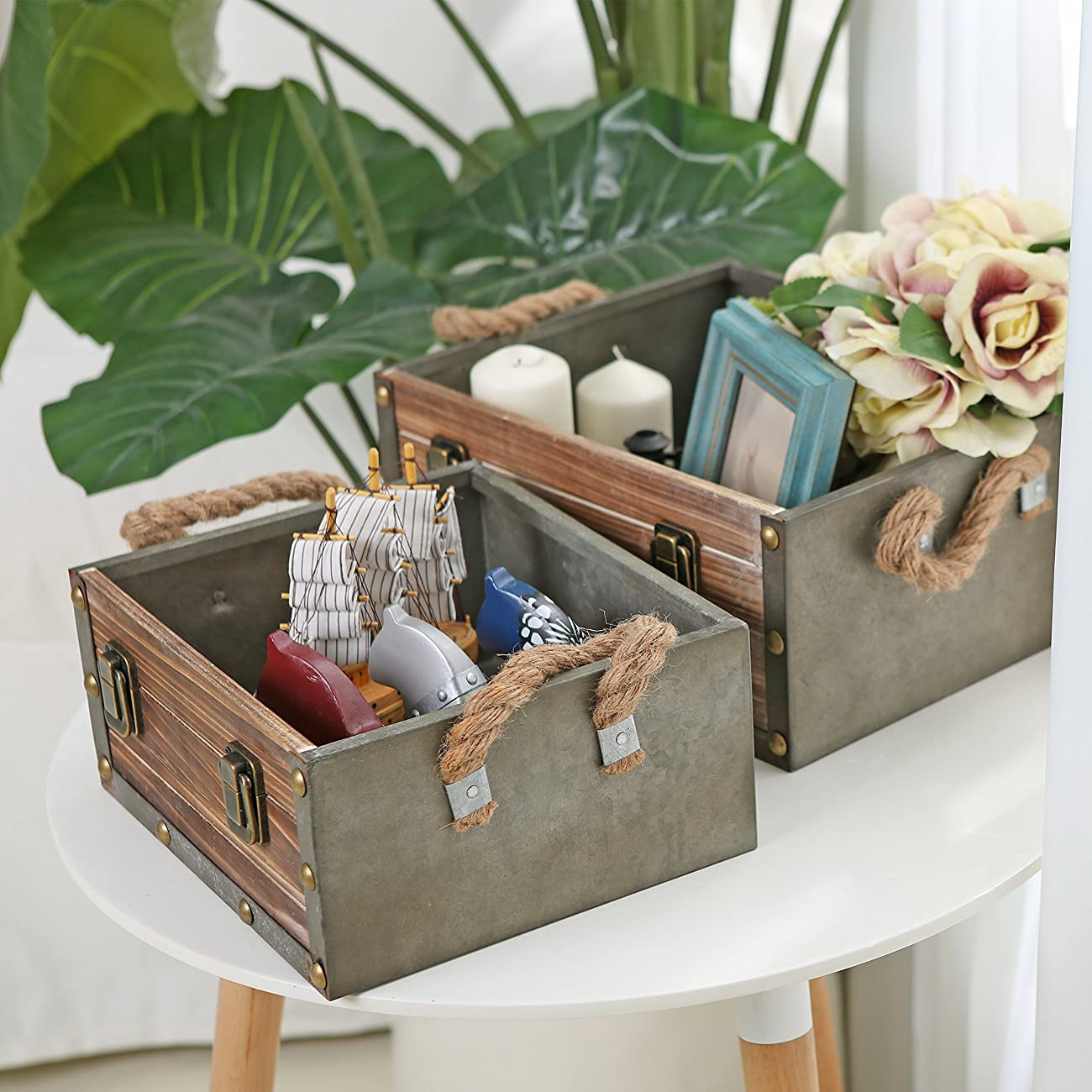 MyGift Set of 2 Wood Crates w/ Rope Handles, Rustic Nesting Storage Boxes, Brown 2