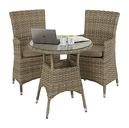 Maze Rattan Natural Milan 2 Seat Round Bistro Set with a 75cm Table and LA Style Chair with Beige Cushions