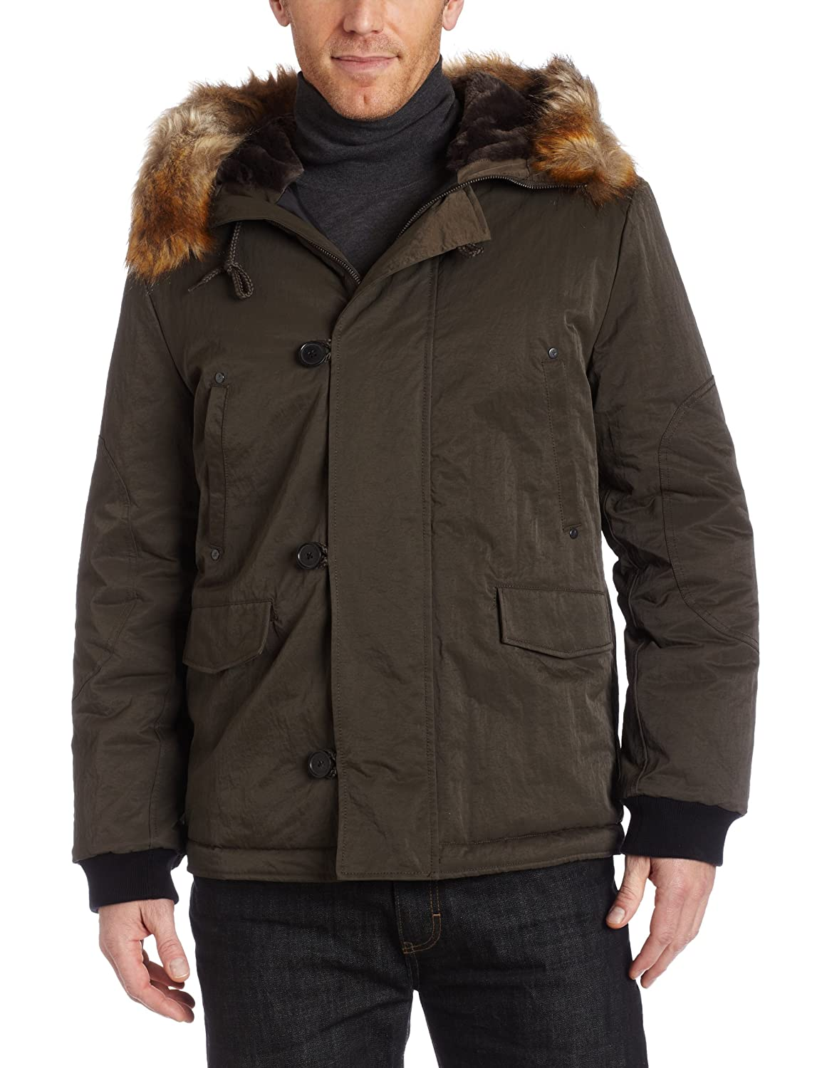 Kenneth Cole New York Mens Hooded Parka, Pinetree, X-Large