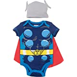 Marvel Avengers Thor Baby Boys' Costume Bodysuit with Cape and Hat Blue (6-9 Months) (Color: Thor, Tamaño: 6-9 Months)