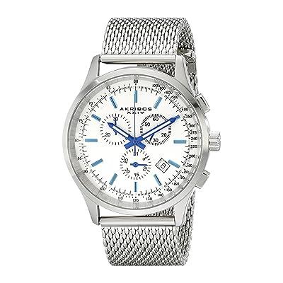 Akribos XXIV Men's AK625SS Round Silver Dial Chronograph Quartz Stainless Steel Bracelet Watch