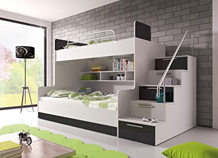 "BUNK BED ""TALA"" WITH MATTRESSES for 2 children, FUNCTIONAL DESIGN, HIGH GLOSS INSERTS (White with Black Details)"