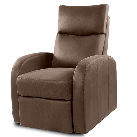 Cecotec Nairobi - Poltrona relax massaggiante, inclinazione di tipo a spinta posteriore, Funzione calore. 10programmi di massaggio. 10 livelli di intensità. 8motori. Telecomando con timer. tessuto tipo nabuk. Tasca portaoggetti. marrone