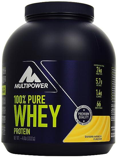 Multipower 100% Whey Protein Banana Mango 2000 g, 1er Pack (1 x 2 kg)