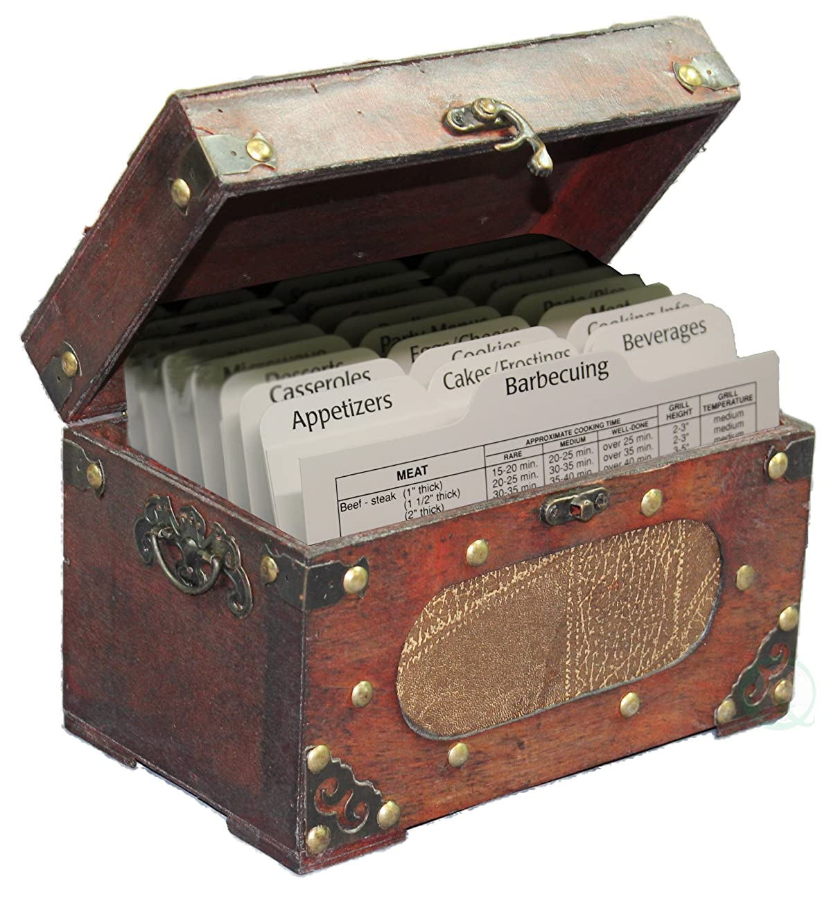 Antique wooden recipe card box 0