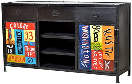 """Sit-Möbel 8903-99 cómoda """"Colore"""", 150 x 40 x 85 cm, de metal con aspecto de desgaste intencionados y vintage diseño pintado a mano"""