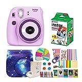 Fujifilm Instax Mini 9 Camera + Fuji Instax Mini Film + Instax Mini 9 Case + Instax Accessories Kit Bundle, Instant Camera Gift Sets - Light Purple (Color: Light Purple)