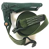 30ft Olive Camo Green Ratchet Strap - 2 inches Wide - Heavy Duty - Military Drab Camouflage Color Webbing and Metal Rachet - Foghorn Construction