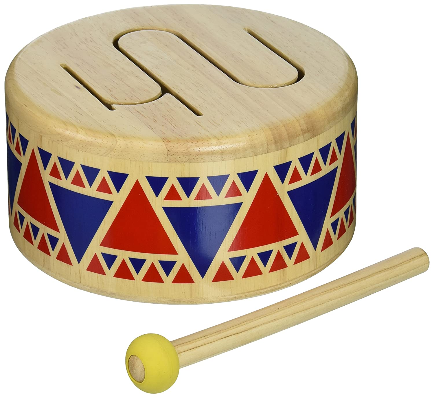 Play Toy Solid Wood Drum with mallet for toddlers and kids