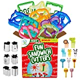 UpChefs Sandwich Cutters for kids - Create Healthy School Lunches in Minutes with These Fun Bento Lunch Box Accessories – Includes Fruit and Vegetable cookie cutters – Food Picks Plus Scratch Notes (Color: purple, blue, orange)