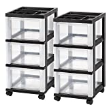 IRIS 3-Drawer Rolling Storage Cart with Organizer Top, Black, 2 Pack (Color: Black, Tamaño: 3-Drawer)