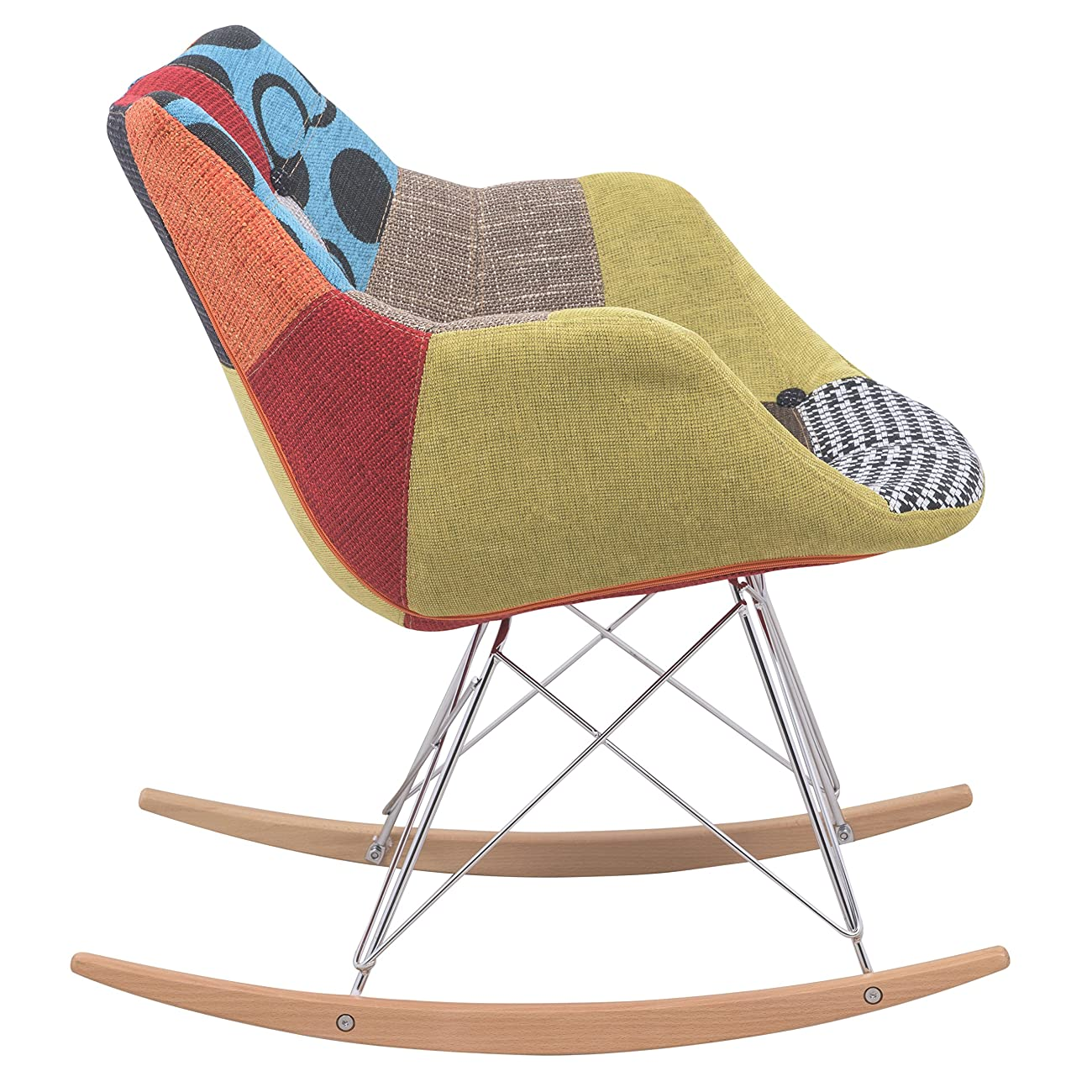 LeisureMod Willow Patchwork Fabric Eiffel Rocking Chair, Multicolor 2