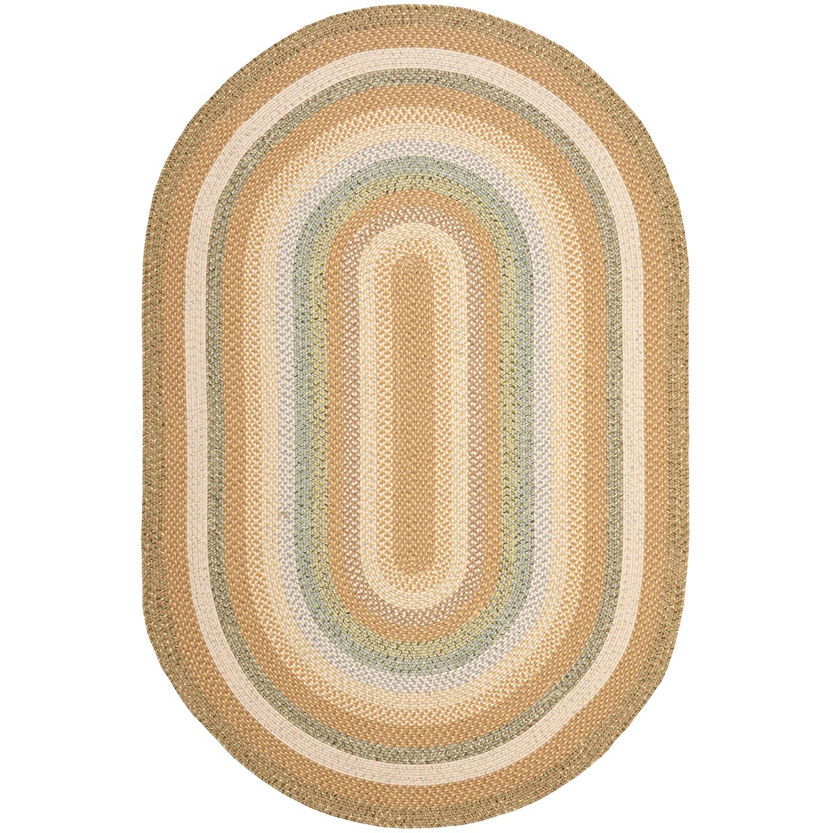 Safavieh Braided Collection BRD314A Hand Woven Tan and Multi Oval Area Rug (5 x 8 Oval)