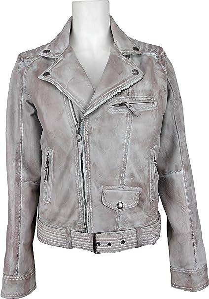 UNICORN Damen Mode Denim Antiquität Echtleder Jacke - Gewachste Braun #GL