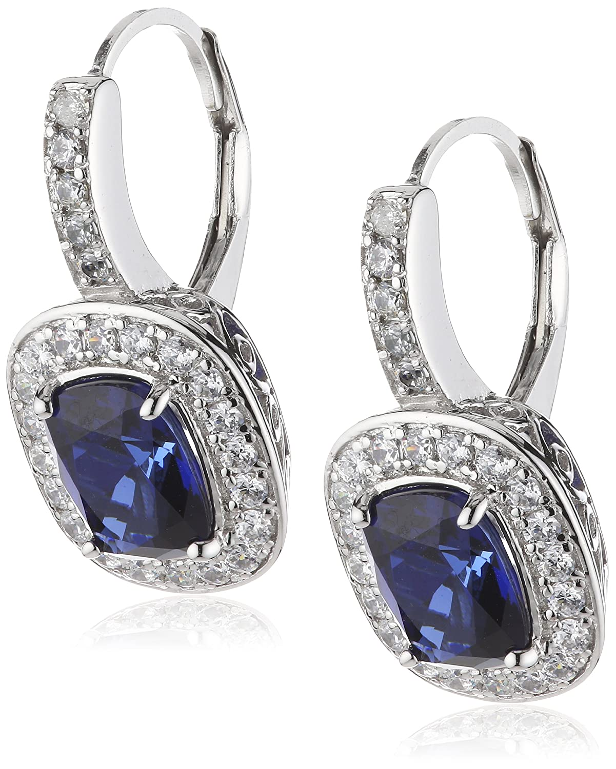 Diamonfire Damen-Ohrhänger 925 Sterling Silber Zirkonia Royal Colours Linie blau 62/1430/1/089