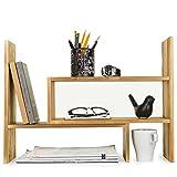 Dark Brown Wood Adjustable Desktop Storage Organizer Display Shelf Rack, Counter Top Bookcase (Color: Dark Brown)