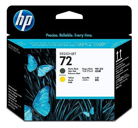 HP 72 Tête d'impression d'origine Photo Noir mat et jaune